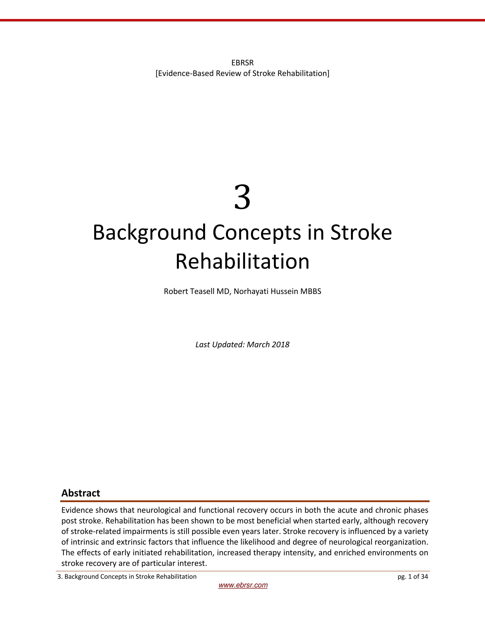 Background Concepts in Stroke Rehabilitation   EBRSR - Evidence